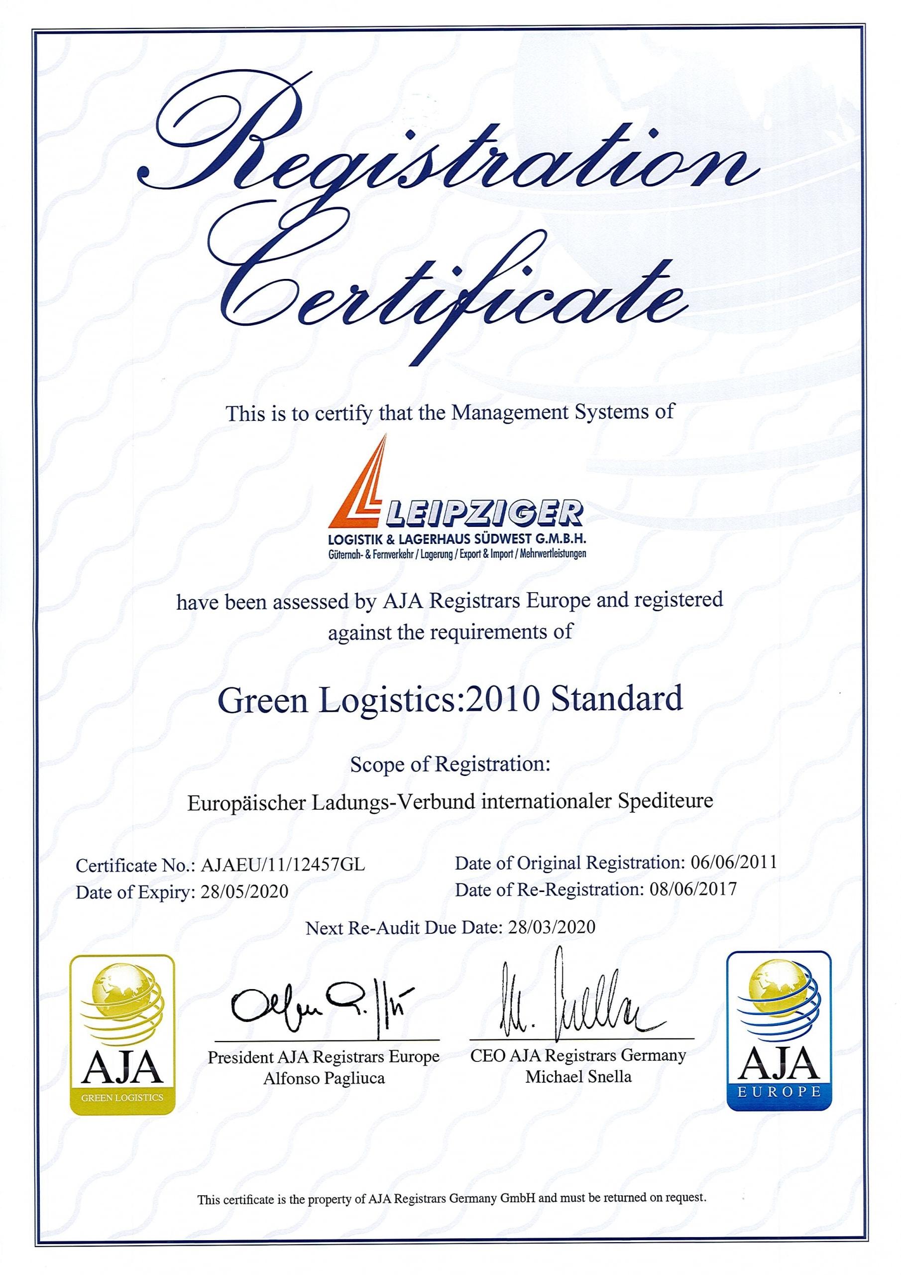 Green Logistics 2010 Standard