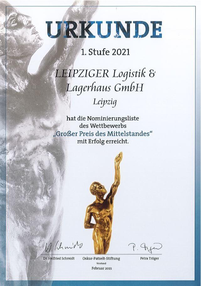 Urkunde 1. Stufe 2021 Norminierung